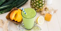 Tropical Turmeric Cleanser Green Smoothie: 2 cups kale, 2 cups coconut milk, 2 cups pineapple, 1 cup mango, juice of 1/2 a lemon, 1 TB fresh ginger, 1/4 to 1/2 tsp ground turmeric, to taste. 1) blend kale and coconut milk until smooth. 2) add remaining ingredients, and blend until smooth.
