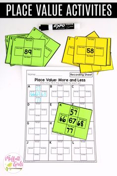 Place Value- More and Less: This fun 1st Grade Math activity helps students understand place values and the meaning of a number in a hands-on way!
