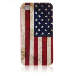 Fancy National Flag Pattern Protective Plastic Backside Case Cover for iPhone 4 4S (Vermilion with Blue)