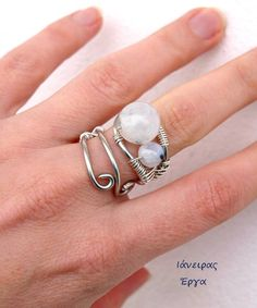 Moonstone wire wrapped ring adjustable by Ianira on Etsy
