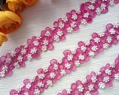 Romantic embroidery pink trim with small white flowers. Perfect for many craft projects. Small White Flowers, Colorful Flowers, Doll Crafts, Sewing Crafts, Paper Lace Doilies, Girl Dress Patterns, General Crafts, Cute Pattern, Handicraft