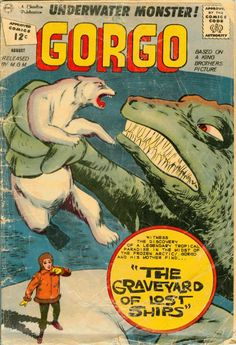 Comic Book Cover For Gorgo Sci Fi Comics, Old Comics, Horror Comics, Vintage Comics, Old Comic Books, Comic Book Covers, Scary Snakes, Charlton Comics, Creepy Monster