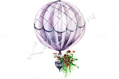 hot air balloon, background for invi by lilisavelieva on @creativemarket