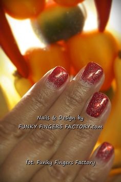 Shellac Red Glitter Ombre nails by www.funkyfingersfactory.com