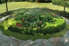 Flower Bed, Round, Flagstone Garden Design Sisson Landscapes Great Falls, VA