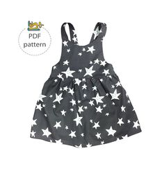 Sewing pattern and tutorial of a girls pinafore dress in size range 3 months to 6 years. This pattern is another variation of everyones favorite apron dress, timelessly sweet and always coming back in trend. Layer it with a long or short sleeve and you will find it suitable for all