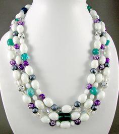 White multi-mix 3-strand necklace