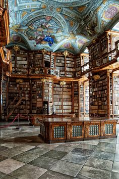 Florian Monastery, Austria: Carved-wood bookcases and a ceiling fresco dominate the Baroque library of the St. Florian Monastery, in Austria. Beautiful Library, Dream Library, Library Books, Belle Library, Library In Home, Grand Library, Library Quotes, Future Library, Library Ideas