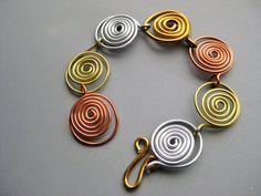 Van Gogh Wire Swirl Copper Brass Silvertone Aluminum by belleazure #jewerly