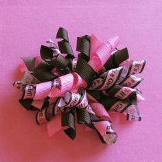 Items similar to It's a Girl Koker Hair Bow-Brown and Pink on Etsy