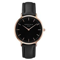 The Bowery Black and Rose Gold Watch by Rosefield ($97) ❤ liked on Polyvore featuring jewelry, watches, pink gold watches, thin watches, thin wrist watch, red gold jewelry and rose gold jewellery