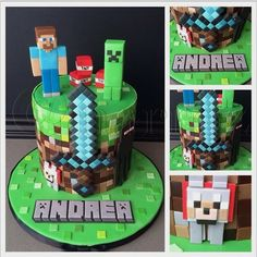 """narroz on Instagram: """"My first Minecraft cake. Thankfully it wasn't such a huge cake, because cutting and placing each square was tedious! #minecraft #tamewolf #creeper #steve #enderman #pixel #cake #fondant #birthdaycake"""""""