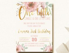 Floral Crown Boho Chic Invitation First Birthday One Little Candle Blush Floral Gold Girls Birthday by DesignOnPaper on Etsy https://www.etsy.com/listing/249779377/floral-crown-boho-chic-invitation-first