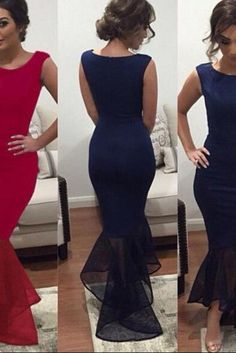 New Arrival Navy Blue Long Evening Dresses Chiffon Square Mermaid Prom Gowns Plus Size Women Gown