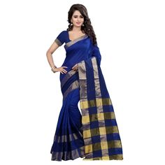 Artistic Blue Color Cotton Silk Printed Kanchivaram Sarees at just Rs.1080/- on www.vendorvilla.com. Cash on Delivery, Easy Returns, Lowest Price.