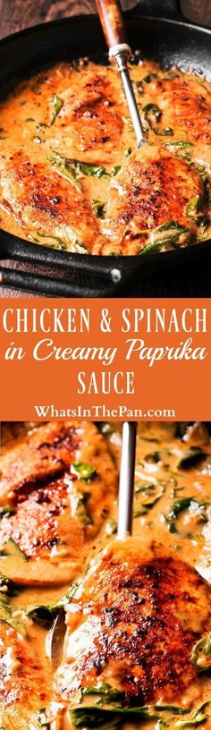 Chicken and Spinach in Creamy Paprika Sauce is an easy to make one-pan dish that is amazing in flavor from dry white wine and sauteed garlic. The delicious paprika sauce is creamy and buttery, with a mild tang from the fresh lemon juice. #dinner #castiron, #skilletchicken #whitewine