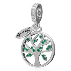 Fits pandora Bracelets Green Zircon Life Tree Pendant Silver beads charms 925 sterling silver jewelry DIY making wholesale #Affiliate