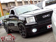 Black, Dropped Pickup, Custom GMC Sierra