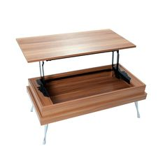 Double-Duty Walnut Coffee Table | dotandbo.com Pricey but (1) can store stuff in it and (2) can lift up top if you want to work on computer while sitting on sofa.