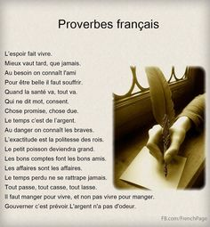 Sayings in French. French Expressions, French Language Lessons, French Language Learning, French Lessons, French Phrases, French Words, French Quotes, Ap French, French Teaching Resources