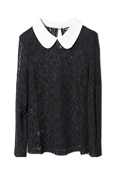 Elegant Perspective Black Lace T-shirt. Description Black T-shirt has been crafted from lace farbic,featuring unique Peter Pan collar while back collar with oval embellishment,long sleeves,hollow perspective and elegant styling. Fabric Lace. Washing Hand wash seperately,iron on reverse,do not tumble dry,take care to avoid snagging. #Romwe