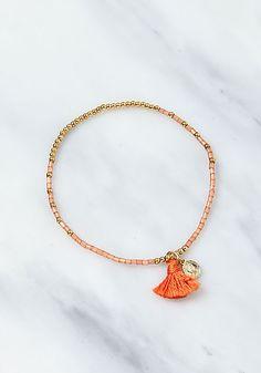 Orange Beaded Tassel Bracelet - Accessories