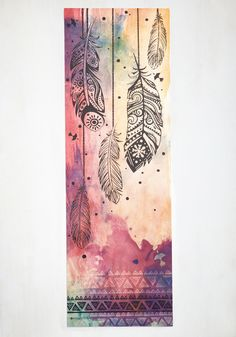 Whenever you're ready, your center is waiting to be found. Slip onto this colorful yoga mat's watercolor-inspired wash and exhale to your heart's content! Prettied up with a black-and-white geometric edge and feather illustrations, this mat makes practice Watercolor Bookmarks, Watercolor Art, Watercolor Galaxy, Galaxy Painting, Zentangle, Feather Illustration, Creative Bookmarks, Creation Art, Feather Art