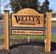 Hanging Family Sign With 4x4 Posts Carved Ends And