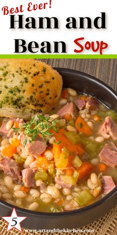 A BEST EVER recipe for Ham and Bean Soup! An all-time favourite recipe for leftover ham, so hearty and delicious. Recipe For Ham And Bean Soup, Bean Soup Recipes, Bean Soup With Ham, Ham And Potato Soup, Leftover Ham Recipes, Leftovers Recipes, Recipes For Ham, Dinner Recipes, Pork Recipes