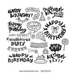 Set of Happy Birthday Hand Drawn Calligraphy Pen Brush Vector Design Happy Birthday 手書き, Happy Birthday Doodles, Happy Birthday Writing, Happy Birthday Drawings, Handlettering Happy Birthday, Happy Birthday Hand Lettering, Watercolor Birthday Cards, Birthday Card Drawing, Watercolor Hand Lettering