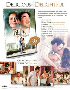 "#Movie #IMDb #Movie #DVD #DVDs #Film #Films #BedAndBreakfast (Short Synopsis) ""In this charming romantic comedy, Jake inherits a small bed and breakfast in California wine country. Problem is, so did sultry Brazilian Ana. Her life is complicated… his is worse."" (Starring) #DeanCain (ABC's Lois and Clark: The New Adventures of Superman), #JulianaPaes, #EricRoberts (The Whole Truth), John Savage (The Thin Red Line), Julia Duffy (Intolerable Cruelty), and #BillEngvall (Blue Collar Comedy Tour)."