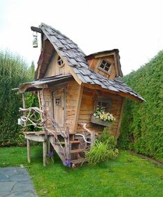 Amazing Shed Plans - cabane de jardin a faire - Now You Can Build ANY Shed In A Weekend Even If You've Zero Woodworking Experience! Start building amazing sheds the easier way with a collection of shed plans! Cubby Houses, Fairy Houses, Play Houses, Crooked House, Outdoor Living, Outdoor Decor, Shed Plans, Little Houses, Cabana