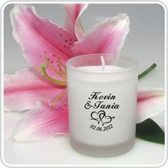 Our Frosted Glass Votive Candle personalised with your own special message make a unique bonbonniere and great thank you gift for your special day.