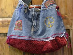 How cute to use the girls old mini skirts!!  Lucky Brand Skirt now a  Hippie Hobo Denim Bag by recycleinstead, $49.00