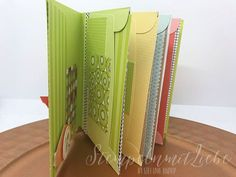 Mini album from envelopes including instructions How To Make Scrapbook, Diy Scrapbook, Journal Paper, Scrapbook Journal, Envelope Punch Board, Creative Journal, Journal Ideas, Free Gift Cards, Happy Mail