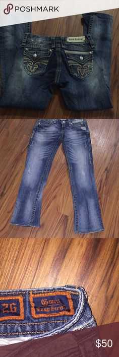 Rock revival Size 26 Inseam hemmed to 29 Gwen  easy straight but however straight is spelled wrong Rock Revival Jeans Straight Leg