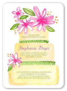 Bridal Shower Invitation: Wedding Cake Blooms, Rounded Corners, White