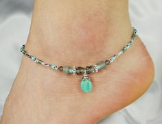 Anklet, Ankle Bracelet, Sage Jewelry Green Semi Precious Beaded Anklet Foot Jewelry Cruise Jewelry Beach Jewelry Vacation Ankle Jewelry