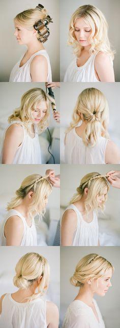 DIY Twisted Low Bun by OnceWed #hairtutorial #blondehair #shorthair