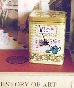 oolong tea tin clock