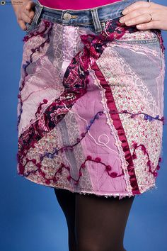 I even like the pink... something different in recycling your jeans to a skirt