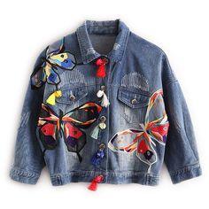 カラフルな蝶刺繍レディースジャンジャケットパッチデザインレディースデニムコートでタッセル短いchaquetas mujerスリムジャケット