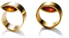 insert navette rings, Beate Brinkmann  750 yellow or red gold and a navette-shaped garnet or citrine.