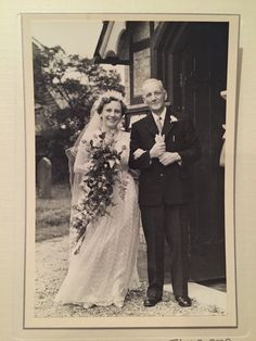 Lovely photo of my darling Granny getting married in with her proud father! She kept her dress all this time and gave it to me to in my wedding dress! Getting Married, All About Time, Give It To Me, Father, Wedding Dresses, Unique, Fashion, Pai, Bride Dresses