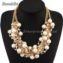Fashion Multi Gold Chains Cross Pearl Rhinestones Beads Choker Statement Necklaces Bijouterie For Women Dress CE1832(China (Mainland))