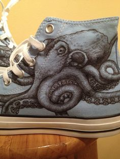 Octopus Converse Custom Shoes by ChromeReflections on Etsy