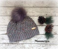 Handmade Faux Fur Pom Pom Beanie Grey Aran Tweed Nomadic Fisherman Gray Nordic Hat Wood Button Crochet –