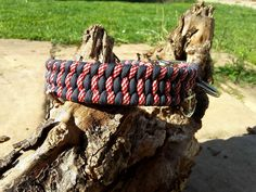 Paracord Halsband Stripes in Navy Blue und Candy Cane www.mein-paracord.de