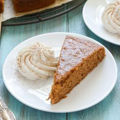 Moist pumpkin snack cake, served with homemade whipped cream.