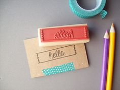 Hello Rubber Stamp  Washi Tape Border  Make Notes by stampcouture